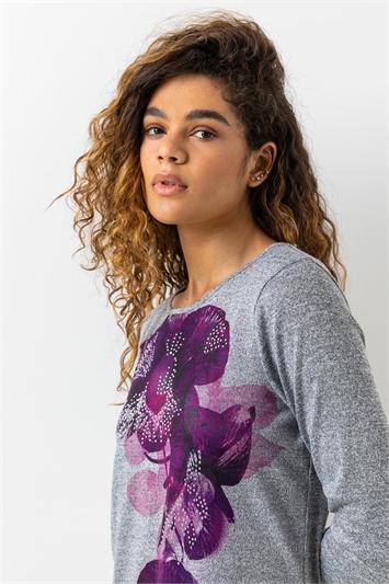 Magenta Floral Print Embellished Top, Image 1 of 4