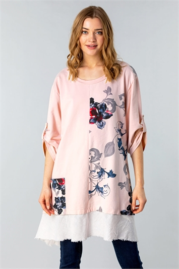 Floral Slouchy Pocket Tunic Top
