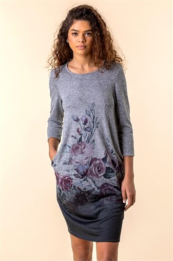 Grey Floral Border Print Slouch Dress, Image 1 of 4