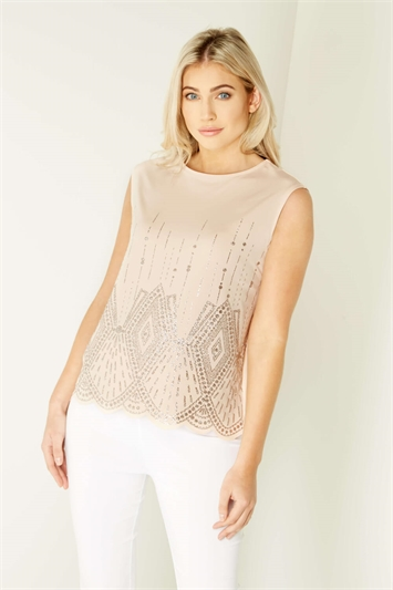 Art Deco Glitter Print Top