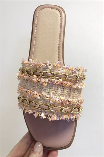 Pink Woven Gold Detail Slider Sandals