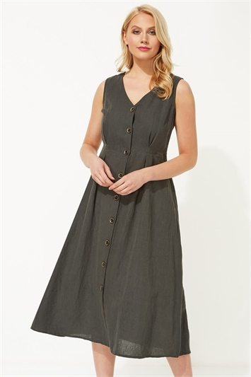 Button Through Linen Midi Dress