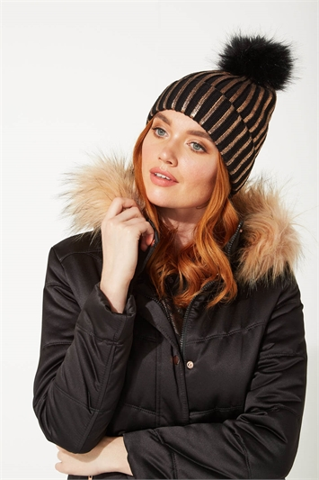 Foil Stripe Printed Bobble Hat