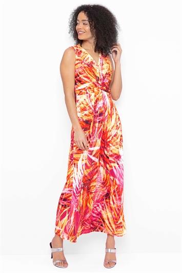 Tropical Print Twist Front Maxi Dress