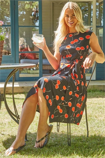 Cherry Print Hanky Hem Dress