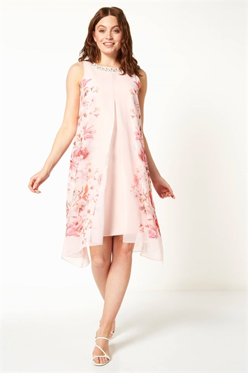 Floral Chiffon Layer Embellished Shift Dress