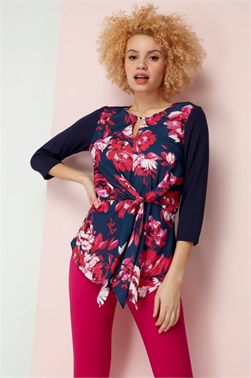 Floral Tie Front Keyhole Top