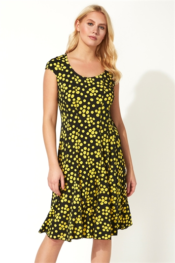 Spot Cap Sleeve Panel Dress