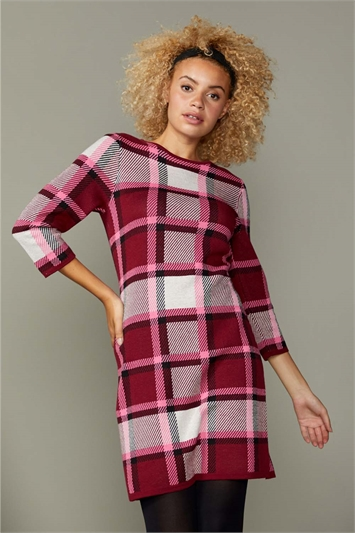 Pink Check Print Knitted Dress, Image 1 of 5