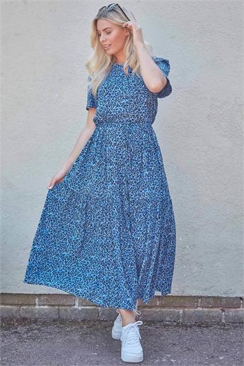 Animal Print Button Through Maxi Dress