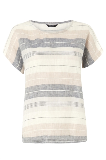 Stripe Print Linen T-Shirt