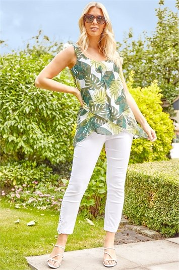 Tropical Leaf Print Asymmetric Top