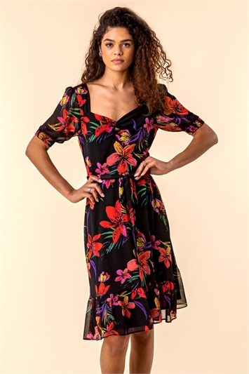 Tropical Floral Print Tea Dress