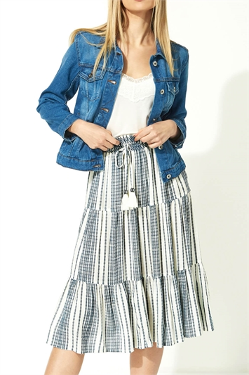 Stripe Print Tiered Skirt