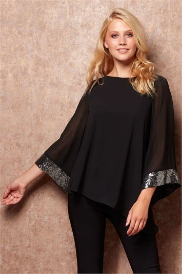 Asymmetric Sequin Cuff Chiffon Top