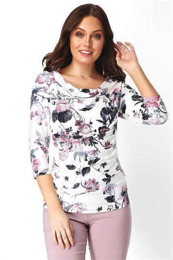 Floral Cowl Neck Top