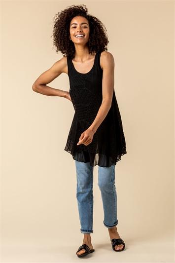 Black Lace Overlay Hanky Hem Vest Top, Image 1 of 4