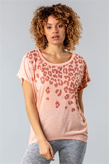 Pink Animal Print Diamante Embellished T-Shirt