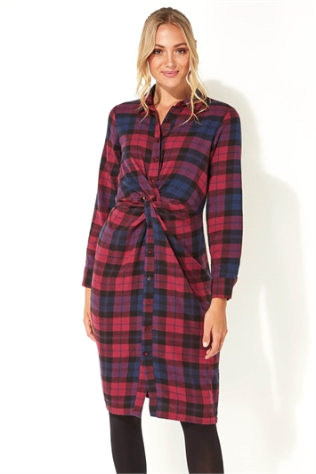 Check Print Twist Shirt Dress