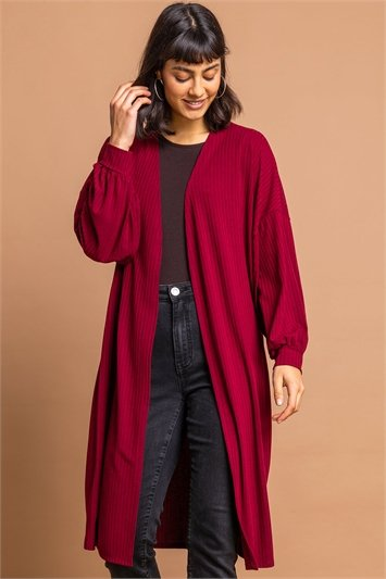 Red Longline Ribbed Texture Cardigan