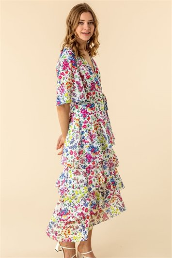 Frill Detail Floral Print Dress