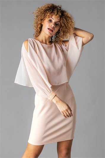 Chiffon Sparkle Embellished Cuff Dress