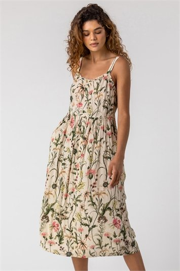 Ivory Floral Print Button Down Sun Dress