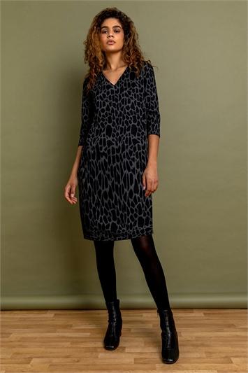 Dark Grey Animal Print Jacquard Dress