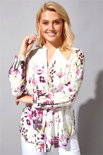 Button Through Floral Print Blouse