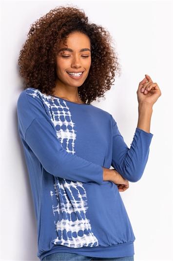 Blue Tie Dye Border Print Blouson Top, Image 1 of 5