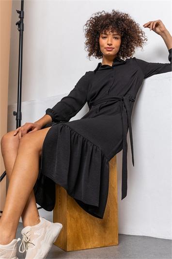 Black Tiered Midi Length Shirt Dress, Image 1 of 5