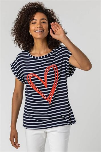 Stripe Print Heart T-Shirt