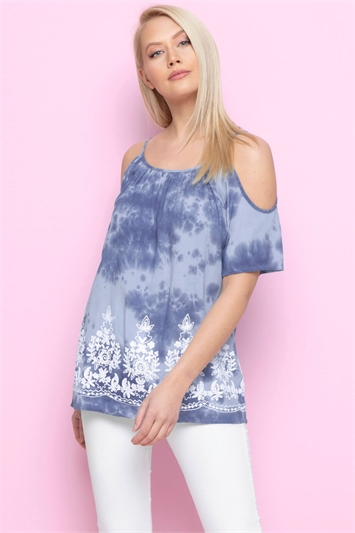 Cold Shoulder Tie Dye Embroidered Top
