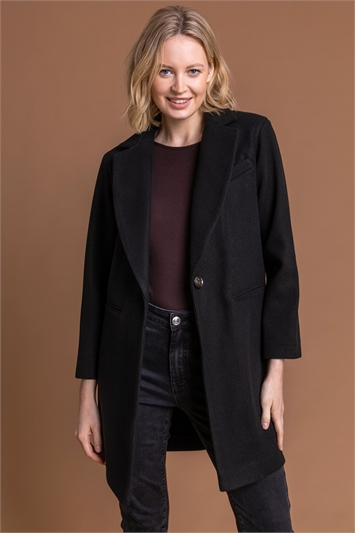 Black Rever Collar Long Coat, Image 1 of 5