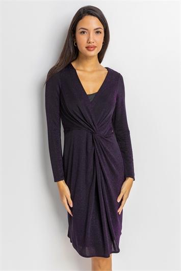 Purple Twist Front Sparkle Embellished Dress, Image 1 of 5