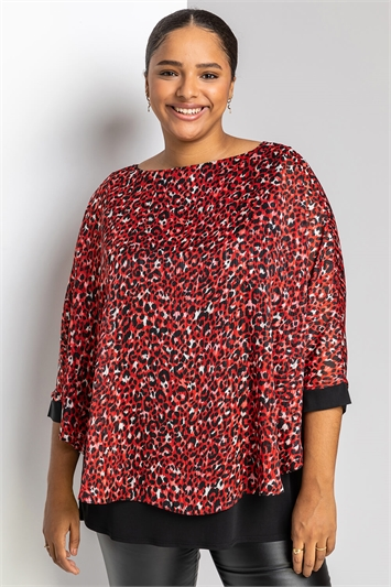 Red Curve Animal Print Overlay Top, Image 1 of 5