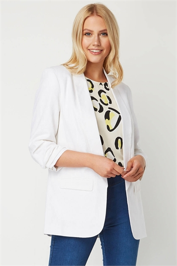 Ruched Sleeve Linen Jacket