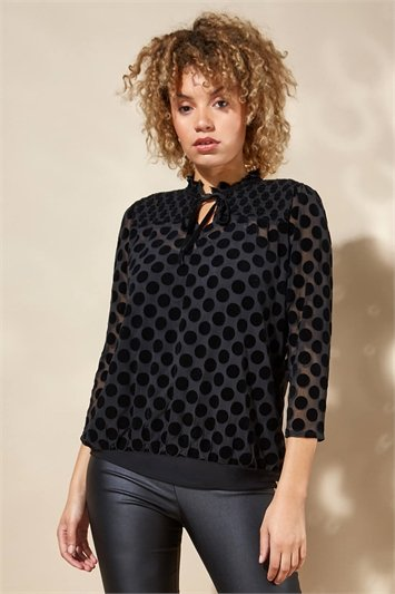 Frill Collar Spot Flocked Top