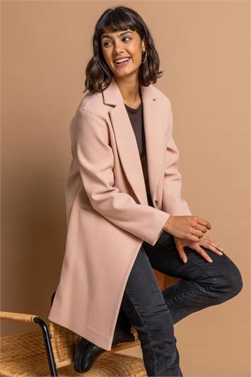 Light Pink Rever Collar Long Coat, Image 1 of 5