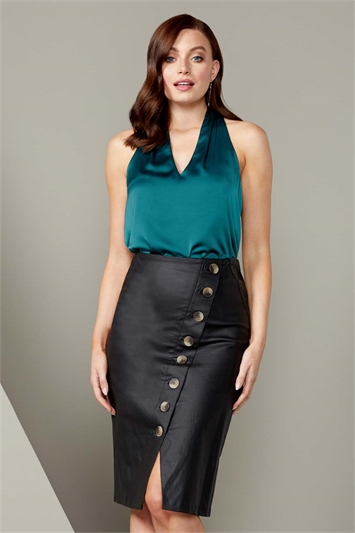 Faux Leather Button Midi Skirt