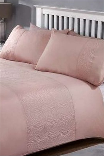 Double Plain and Rose Textured Duvet Cover Set