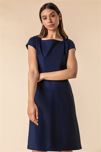 Navy Tailored Pin Stripe Fitted Dress