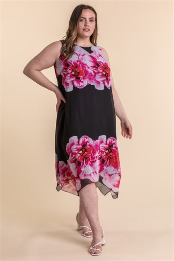 Curve Floral Asymmetric Chiffon Dress