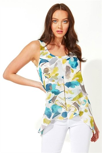 Abstract Print Asymmetric Chiffon Vest Top