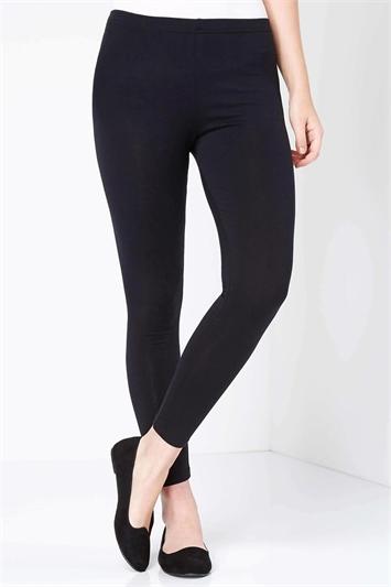 Black Stretch Plain Leggings
