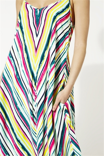 Multi Stripe Print Strappy Sundress, Image 1 of 4