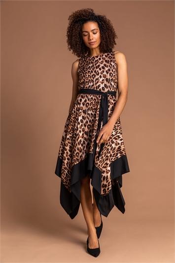 Brown Animal Print Hanky Hem Dress