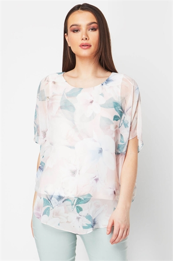 Floral Chiffon Overlay Top