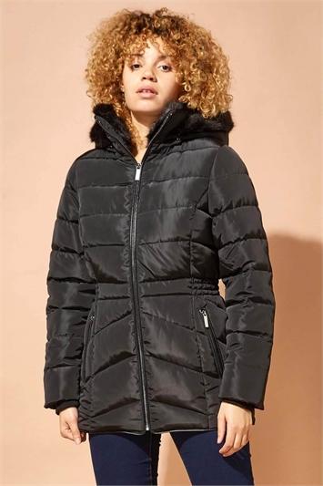 Black Short Padded Hooded Coat