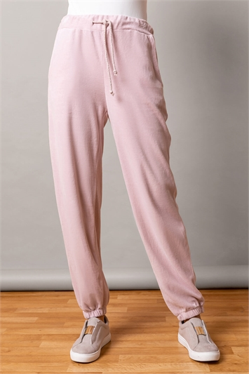 Light Pink Velour Lounge Drawcord Joggers